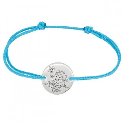 La Fée Galipette : bracelet cordon Blagueur or blanc 9 carats