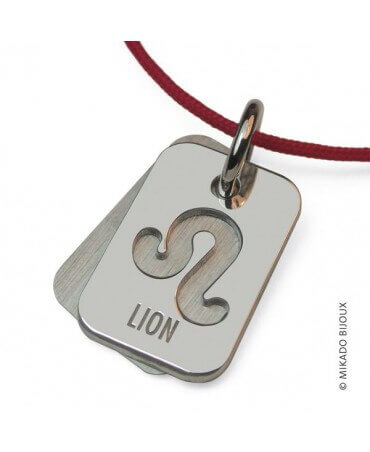 Mikado : pendentif ASTRO signe Lion (or blanc)