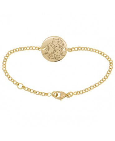 La Fée Galipette : bracelet chaîne médaille Maline or jaune 18 carats