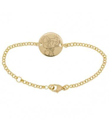 La Fée Galipette : bracelet chaîne médaille Curieuse or jaune 18 carats