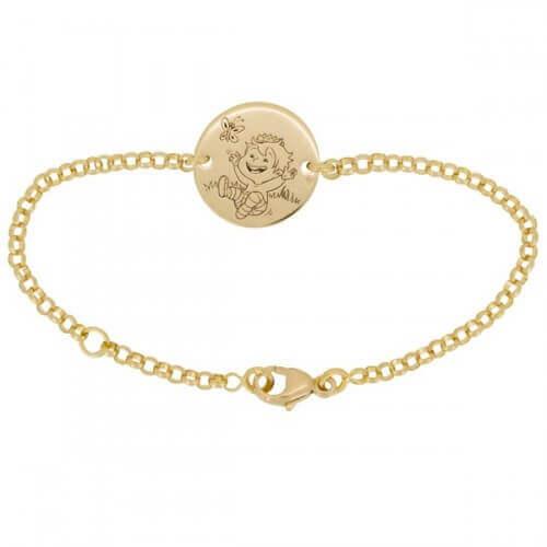 La Fée Galipette : bracelet chaîne médaille Blagueur or jaune 18 carats
