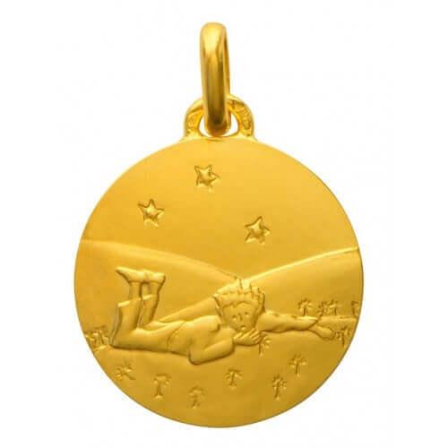 La Monnaie de Paris : médaille Petit Prince couché dans l'herbe (or jaune) 14 mm