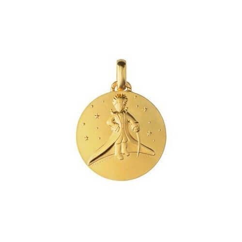 Monnaie de Paris : médaille petit prince dans les étoiles (or jaune) 18 mm
