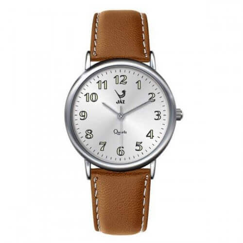 JAZ : montre Pragmatic blanche (bracelet marron)