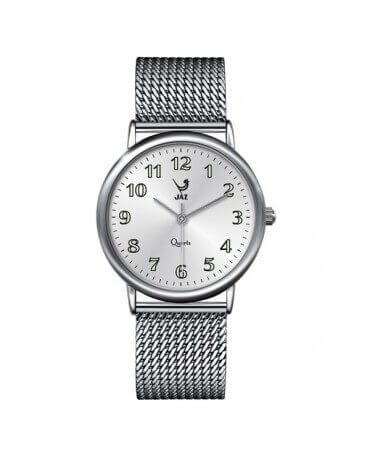 JAZ : montre Pragmatic blanche (bracelet maille milanaise)