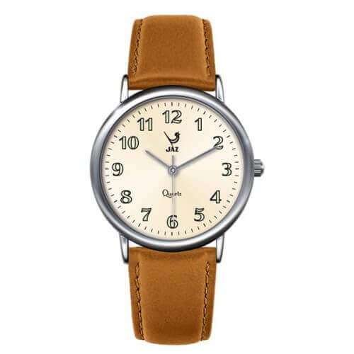 JAZ : montre Pragmatic blanche (bracelet marron clair)