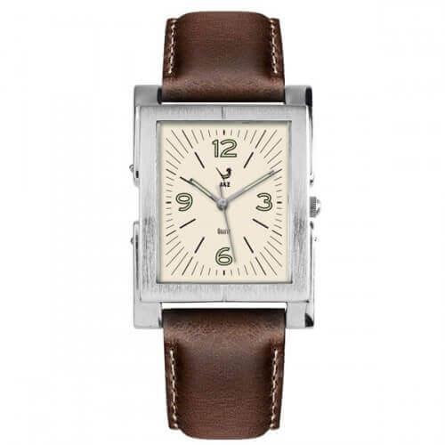 JAZ : montre Esthetic blanche (bracelet marron)