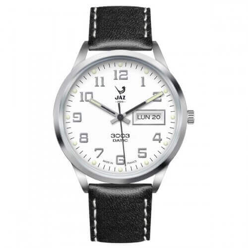 JAZ : montre Jaz 3003 Datic blanche (bracelet noir)