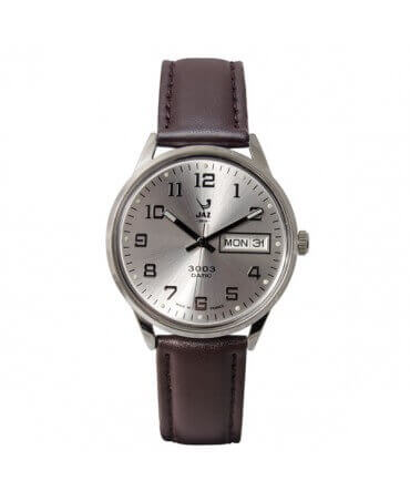 JAZ : montre Jaz 3003 Datic blanche (bracelet marron)