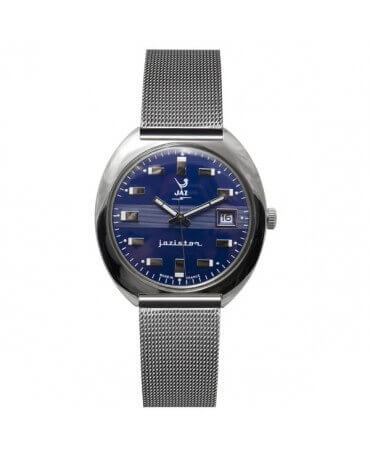 montre JAZ Jazistor cadran bleu bracelet maille milanaise