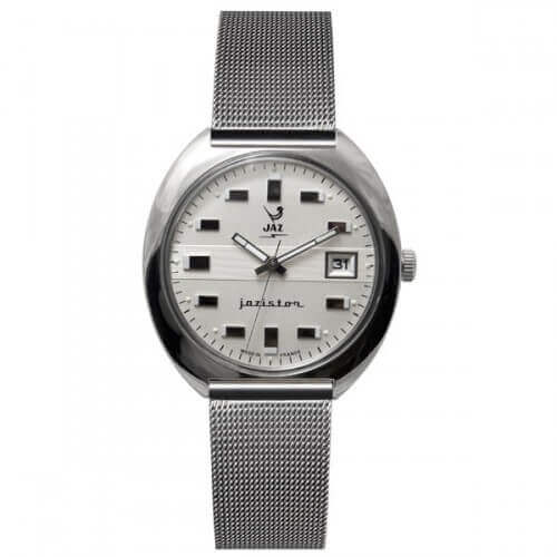 montre JAZ Jazistor cadran blanc bracelet maille milanaise