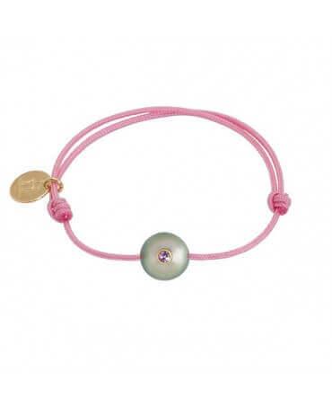 Bracelet bébé perle de Tahiti saphir rose - Sweet baby