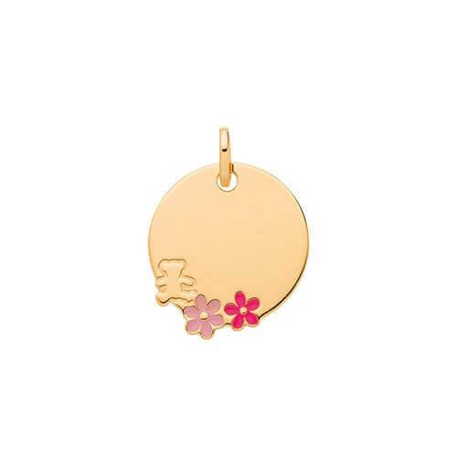 Médaille ourson fleurs LuluCastagnette