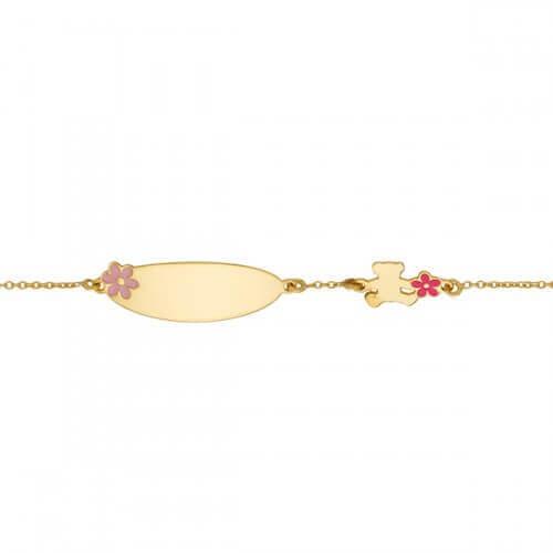 Gourmette Lulu Castagnette ourson fleur