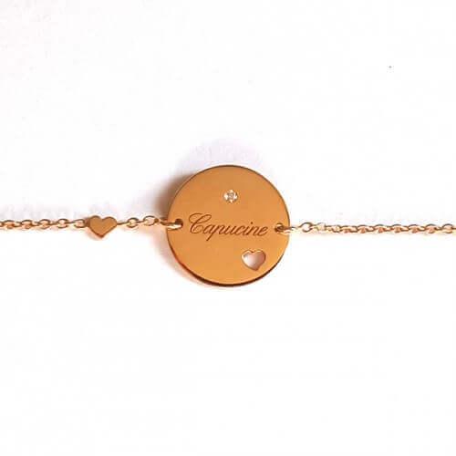 Bracelet médaille coeur - Je t'Ador