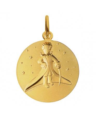 Médaille Petit Prince dans les étoiles or jaune 14 mm - Monnaie de Paris
