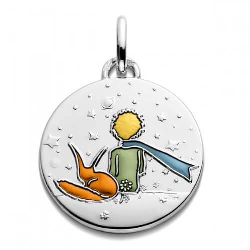 Médaille Petit Prince et renard en couleur (argent) 18mm - Monnaie de Paris