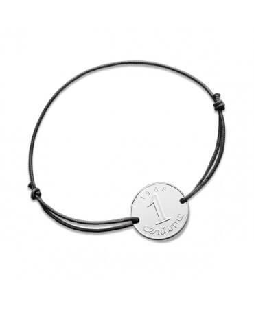 Bracelet cordon 1 centime - argent - Monnaie de Paris