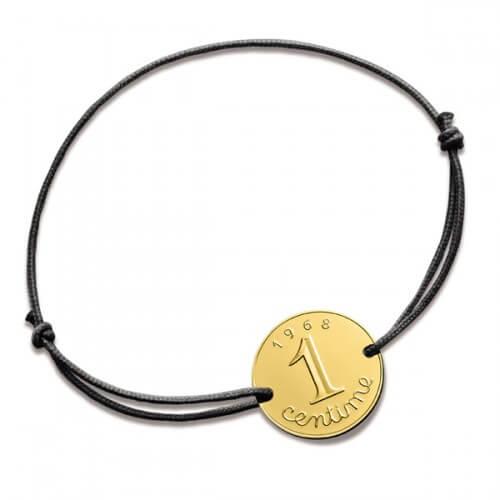 Bracelet cordon 1 centime - or jaune - Monnaie de Paris