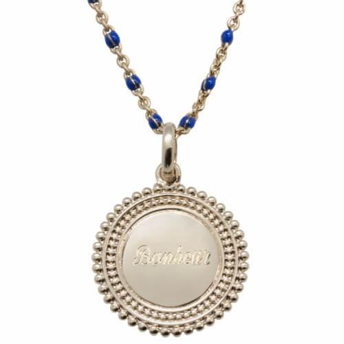Collier médaille perlée personnalisable (plaqué or) Petits Trésors